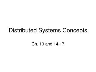 Distributed Systems Concepts