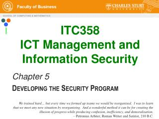 ITC358 ICT Management and Information Security