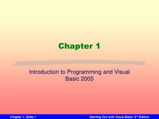 Introduction to Programming and Visual Basic 2005