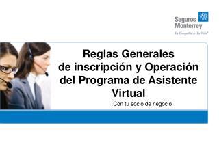 Reglas Generales de inscripci n y Operaci n del Programa de Asistente Virtual