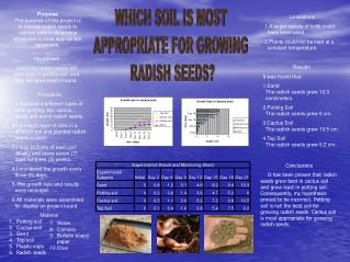 Purpose The purpose of this project is to expose radish seeds to various soils to determine which soil is most appropria