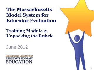 The Massachusetts Model System for Educator Evaluation  Training Module 2: Unpacking the Rubric
