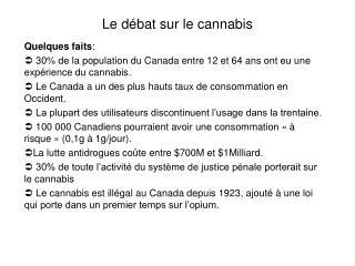 Le d bat sur le cannabis