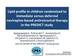 Lipid profile in children randomized to immediate versus deferred nevirapine-based antiretroviral therapy in the PREDICT