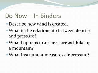 Do Now   In Binders