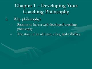 Chapter 1  - Developing Your Coaching Philosophy