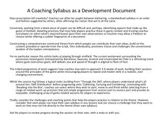 A Coaching Syllabus as a Development Document