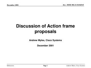 Discussion of Action frame proposals