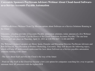 Corcentric Sponsors PayStream Advisors Webinar About Cloud-b