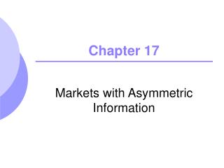 Markets with Asymmetric Information