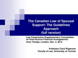 The Canadian Law of Spousal Support: The Guidelines Approach full version
