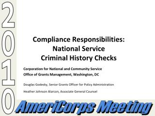 Compliance Responsibilities: National Service  Criminal History Checks