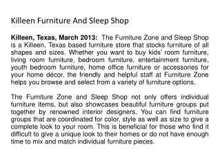 Killeen Furniture And Sleep Shop