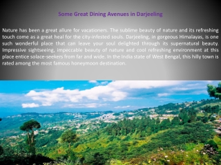 Some Great Dining Avenues in Darjeeling