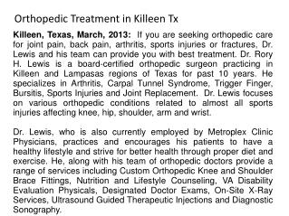 Orthopedic Treatment in Killeen Tx