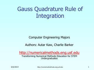 Gauss Quadrature Rule of Integration