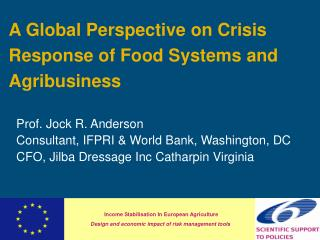 A Global Perspective on Crisis Response of Food Systems and Agribusiness