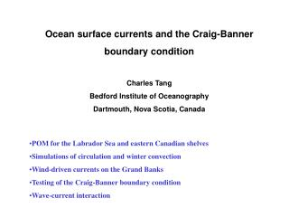 Ocean surface currents and the Craig-Banner  boundary condition  Charles Tang Bedford Institute of Oceanography Dartmout