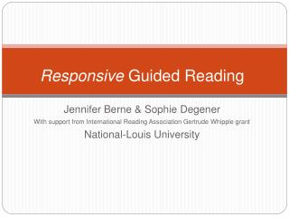 Responsive Guided Reading