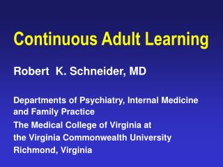 Continuous Adult Learning