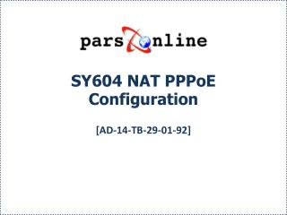 SY604 NAT PPPoE Configuration