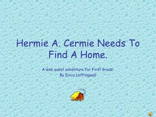 Hermie A. Cermie Needs To Find A Home.