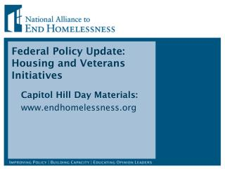 Federal Policy Update: Housing and Veterans Initiatives