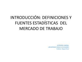 INTRODUCCI N: DEFINICIONES Y FUENTES ESTAD STICAS  DEL MERCADO DE TRABAJO
