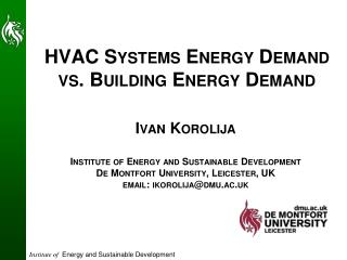HVAC Systems Energy Demand vs. Building Energy Demand