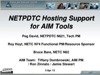 NETPDTC Hosting Support for AIM Tools