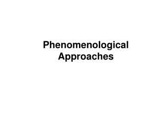 Phenomenological Approaches