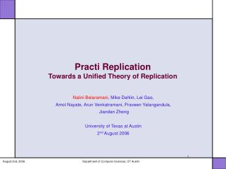 Practi Replication Towards a Unified Theory of Replication