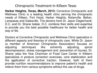 Chiropractic Treatment In Killeen Texas