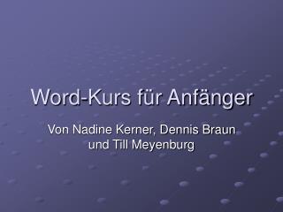 Word-Kurs f r Anf nger