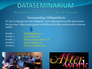 DATASEMINARIUM  Seniorf reningen Danske Bank Sverige