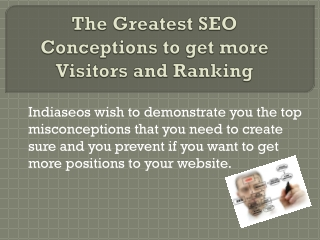 The Greatest SEO Conceptions to get more Visitors and Rankin