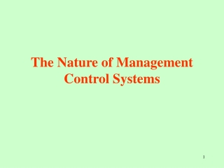 Introduction to  Management Control Systems MCS
