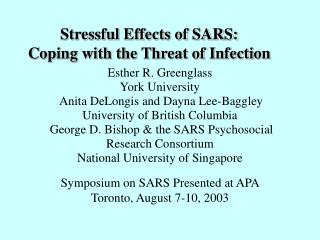 Stressful Effects of SARS:  Coping with the Threat of Infection