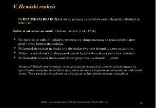 V. Hemiski reakcii