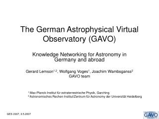 The German Astrophysical Virtual Observatory GAVO