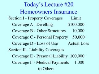 Homeowner s insurance