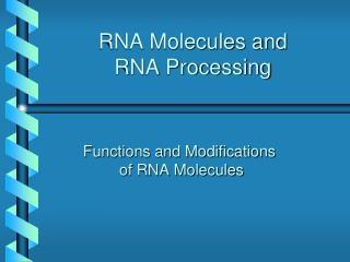 RNA Molecules and  RNA Processing