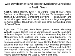 Web Development and Internet Marketing Consultant in Austin