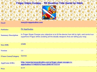 Finger Slayer Escape -  Tilt Reaction Time Game for Nook