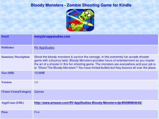 Bloody Monsters - Zombie Shooting Game for Kindle