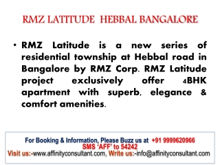 RMZ Latitude Apartment Hebbal  available exclusive