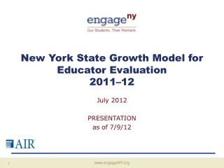 New York State Growth Model for Educator Evaluation 2011 12