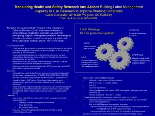 Translating Health and Safety Research into Action: Building Labor Management Capacity to Use Research to Improve Workin
