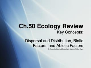 Ch.50 Ecology Review Key Concepts: