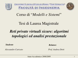 Reti private virtuali sicure: algoritmi topologici ed analisi prestazionale